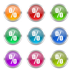 percent colorful vector icons set