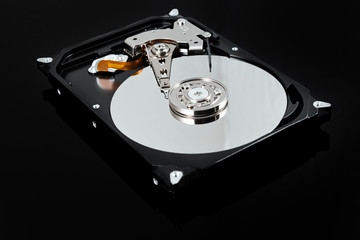Opened external hard drive. Selective focus.