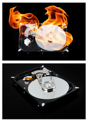 Opened external hard drive on fire. Hard disk failure. Data loss