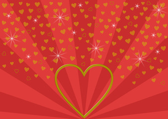 Großes goldenes offenes Herz auf rotem Strahlenmuster