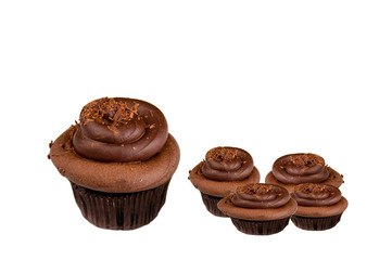 Chocolate cupcakes isolated on white background