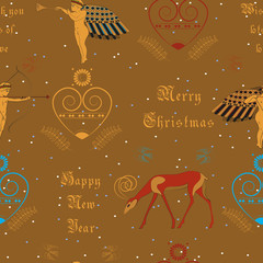 Vector seamless pattern. Christmas golden angels