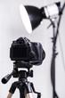 Leinwanddruck Bild - DSLR camera on tripod