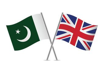 British and Pakistan flags. Vector illustration.