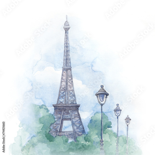 Watercolor illustration of eiffel tower - 74431660