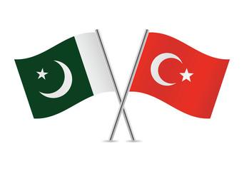 Turkish and Pakistan flags. Vector illustration.