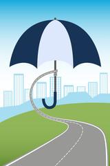 Umbrella protecting city - design concept