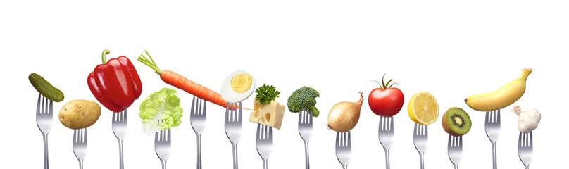 Reihe gesunder Lebensmittel