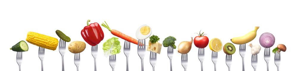 Aufgereihte Lebensmittel