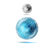 magic logo icon symbol sphere with stars vector easy to edit