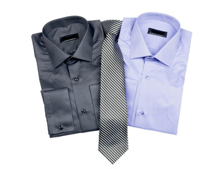 two shirts with a tie on a white background