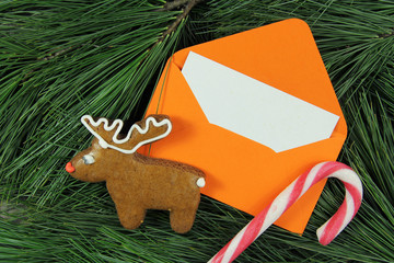 letter to Santa Claus, envelope on fir tree