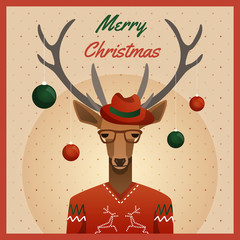 Hipster deer with hat and christmas balls