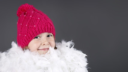Little girl  wearing knitted cap