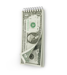 tear-off calendar with a dollar bank note. Investments concept