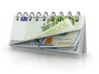Calendar with dollar and euro bills.