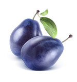 Two plums composition isolated on white background