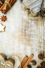 Christmas spices and christmas decoration, copy space