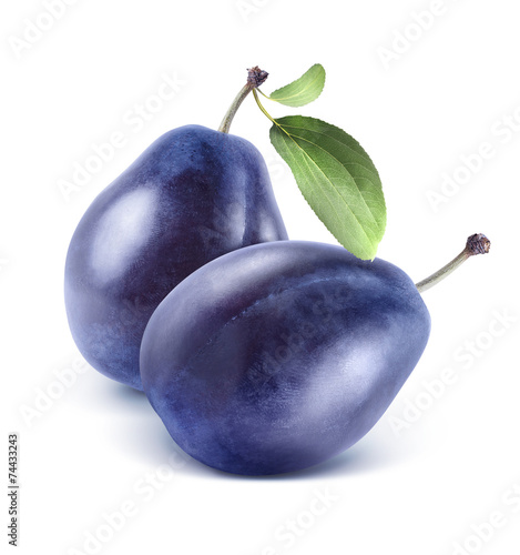 Fototapeta Two plums composition isolated on white background