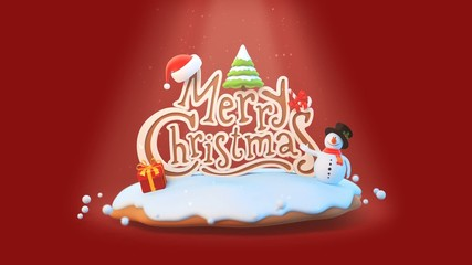 Merry Christmas Greeting card intro logo reveal template.