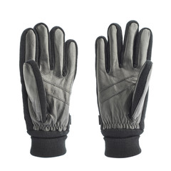 Black leather winter glove isolated
