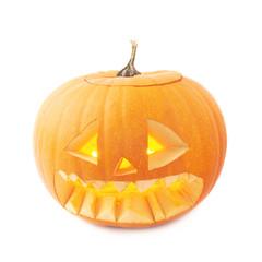 Jack-o'-lanterns orange pumpkin head isolated