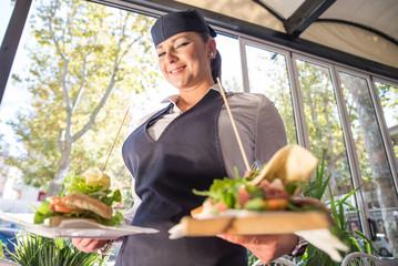 waitress with italian piadina
