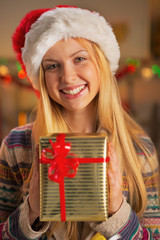 Portrait of girl in santa hat holding christmas present box