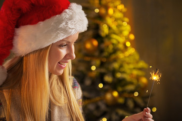 Profile portrait of smiling teenager girl in santa hat