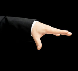 Caucasian male hand in a business suit isolated