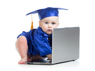 funny baby in academician clothes at laptop