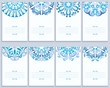 Set Of Cards With Abstract Blue Patterns