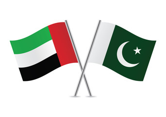 United Arab Emirates and Pakistan flags. Vector illustration.