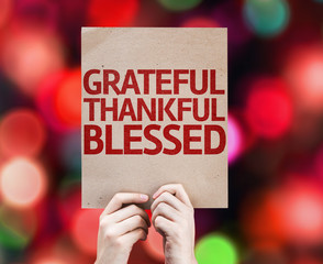 Grateful Thankful Blessed card with colorful background