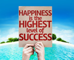 Happiness is the Highest Level Of Success card with a beach