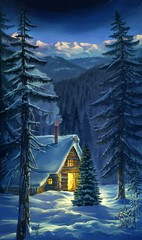 Winter forest landscape with hut