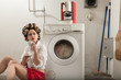 portrait of pretty woman in laundry