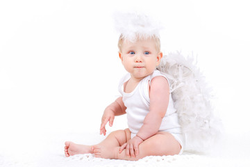 Small angel with the wings isolated on the white.