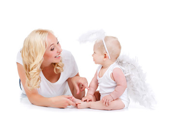 Beautiful mother with the angelic child.