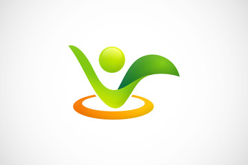 ecology environment people abstract logo vector