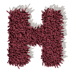 H lettera tappeto microfibra 3d, isolata su sfondo bianco