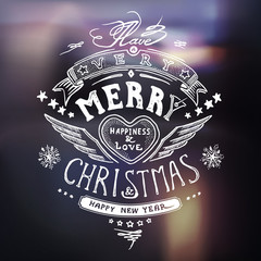 Christmas card with hand drawn typography, handwriting in vector
