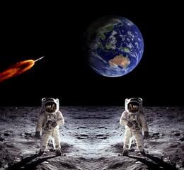 Astronauts Earth Moon Spaceship