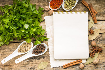 Menu background. Recipe notepad with diversity of spices
