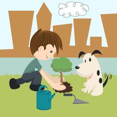 Child planting new tree, vector illustration