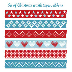 Set of vintage christmas washi tapes, ribbons, vector elements