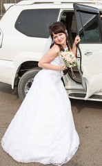 Bride and the car