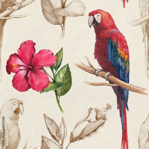 Macaw and hibiscus flower drawings. Seamless pattern - 74437043