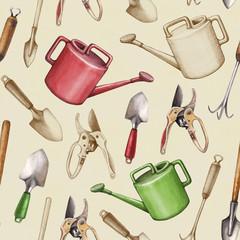 Garden tools illustration. Seamless pattern