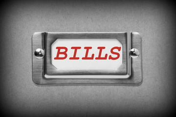 Drawer Label for Bills in black and white with red text